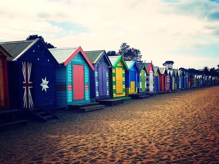 Vibrant Color Multi Colored Sand Building Exterior In A Row Beach Outdoors Built Structure Sky Melbourne Australia Icon Iconic Architecture Beach Hut Day Summer Taking Pictures Vibrant Bright Row Bright Colors Bathing Boxes Summertime EyeEm Gallery