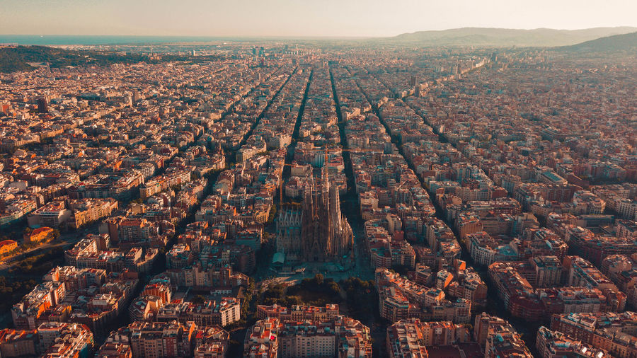 Aerial Shot Drone  SPAIN Aerial View Architecture Building Building Exterior Built Structure City Cityscape Day Environment High Angle View Landscape Nature No People Outdoors Parallel Residential District Sagrada Familia Sky TOWNSCAPE Travel Travel Destinations 10
