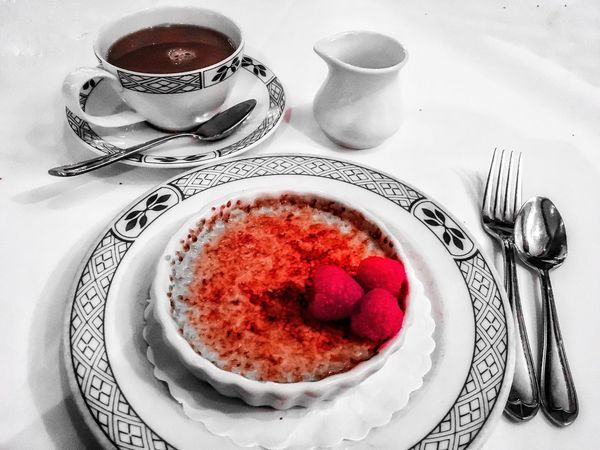 Food And Drink Plate Coffee Cup Fork Food Table Freshness Coffee - Drink High Angle View Indoors  Sweet Food Serving Size Dessert Refreshment Red Saucer No People Breakfast Ready-to-eat Drink Crème Brûlée Creme Brulee! Dish Cream White Color