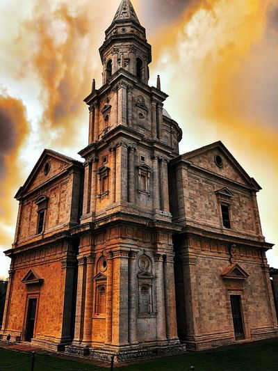 Montepulciano Built Structure Architecture Building Exterior Sky Low Angle View Building Cloud - Sky Religion Place Of Worship Spirituality Belief History Nature The Past No People Travel Destinations Sunset Tower Ornate Spire