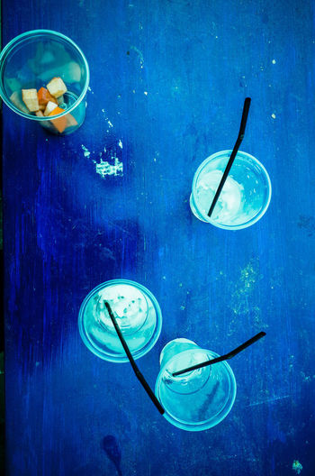 Drinks Party Time Postcode Postcards Shapes Blue Bowl Directly Above Drink Drinking Drinking Glass Drinking Straw Everybodystreet Food And Drink Freshness Healthy Eating Park Party Shapes And Forms Table View From Above Water