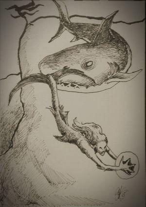 Sketch Ink mermaid chased by sharkey. Drawing Fantasy Art Mermaid Ocean Sealife Sharkweek