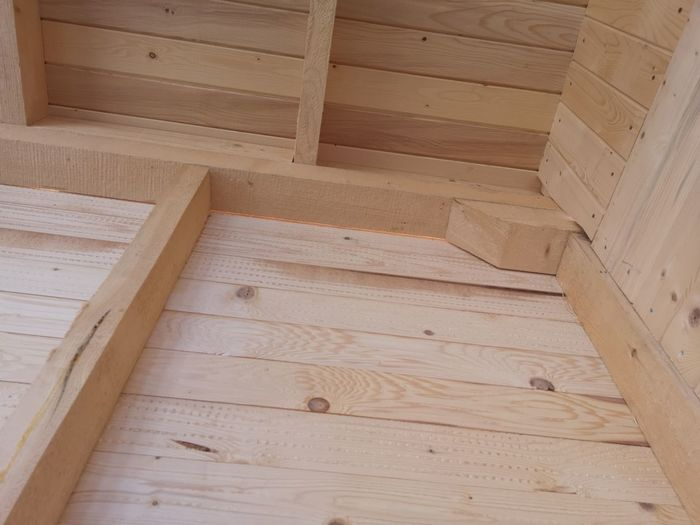 High angle view of wooden floor in house