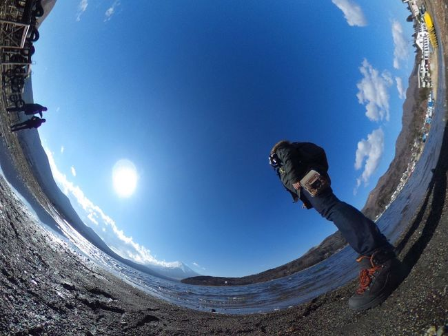 Mt.Fuji & Blue Sky & ... Who ?(´ー`) Landscape Super Wide Angle 広角機動隊 Low Angle View Theta360 Theta Nature Photography EyeEm Best Shots - Landscape EyeEm Best Shots - Nature EyeEm Best Shots Snapshot Taking Photos Walking Around お写ん歩
