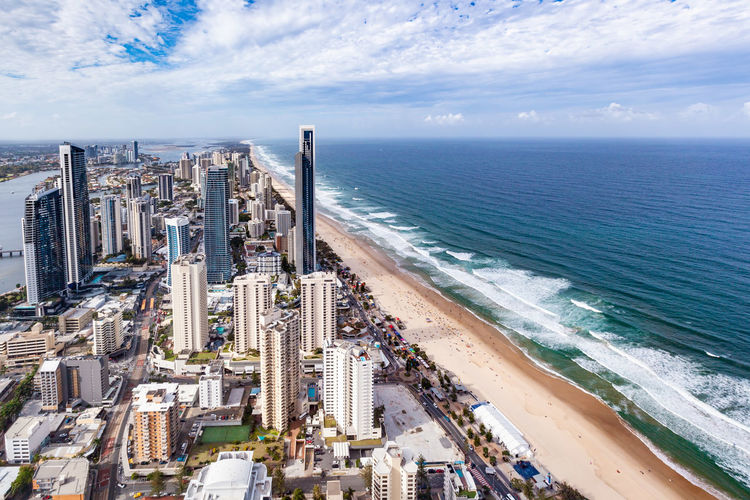 Coastline Ocean Surfers Paradise Gold Coast Aerial View Water Sea Sky Horizon Over Water Horizon Building Exterior Built Structure Architecture Cloud - Sky Nature High Angle View Scenics - Nature Cityscape City Beauty In Nature Beach Land Day Building No People Office Building Exterior Skyscraper Outdoors Financial District