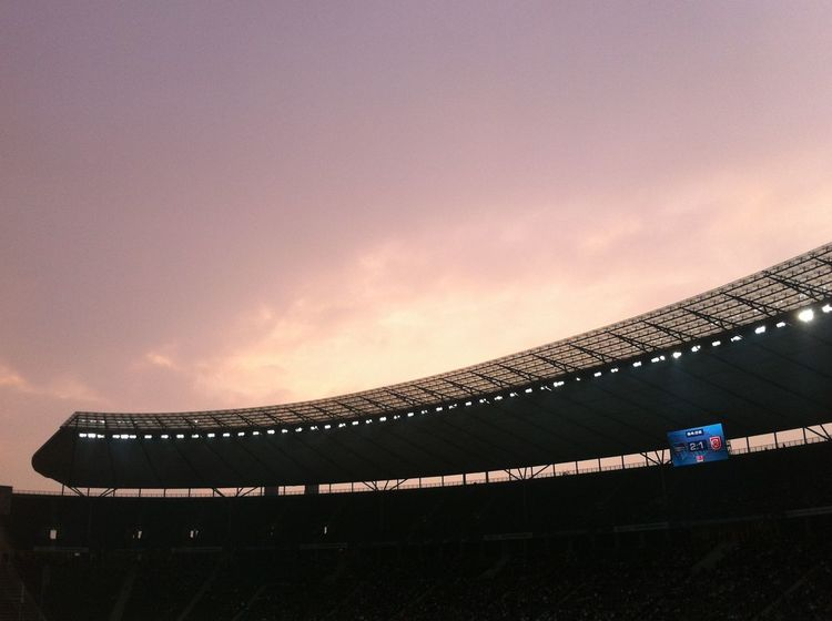 Olympiastadion EyeEmNewHere EyeEm Best Shots Enjoying Life Stadium Soccer Sunset Architecture Sky Low Angle View Built Structure Sport Outdoors Soccer Field No People Night EyeEmNewHere