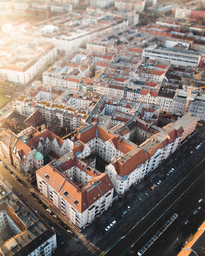 DJI X Eyeem From Above  Aerial View Architecture Built Structure Car City Cityscape Day Dronephotography Dynamic Evening Sun High Angle View Quarter  Residential District Roof Small Street Street Corner Sun Sun Flare Sunlight Sunrise Sunset Warm Light