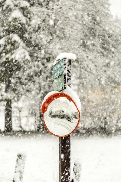 Close-up Erster Schnee First Snow Schnee Snow Verkehrsschild Winter Wintereinbruch