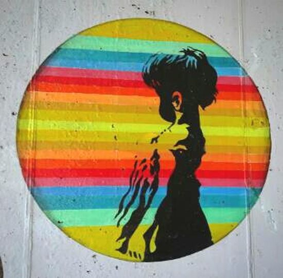 Girl In A Bubble Art Streetart Indianapolis  Indiana Canalwalk Canal Beautiful Colorful Stripes Straight Lines Girl