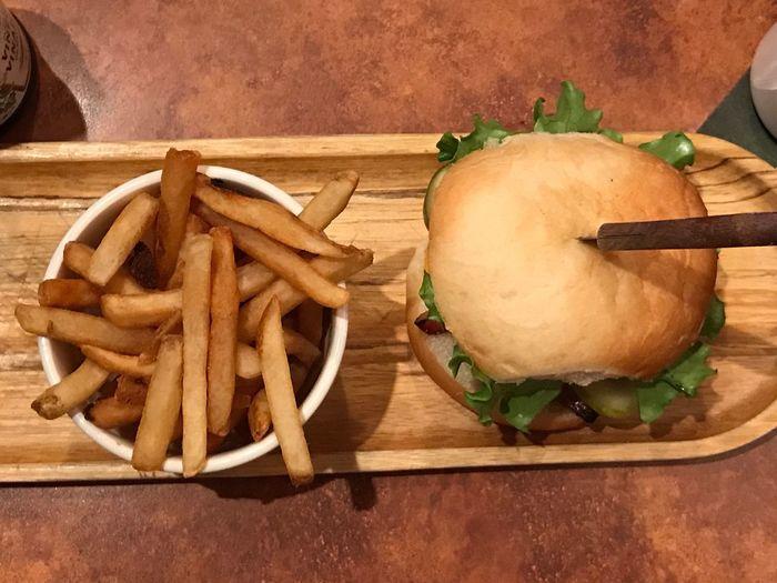 Fries and BBQ bacon cheeseburger Foodspotting