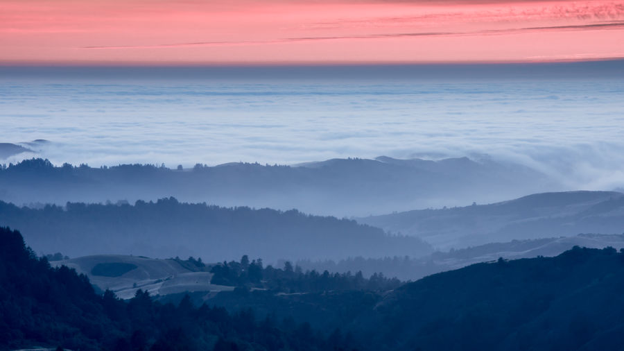 High above santa cruz mountains and the pacific ocean via russian ridge open space preserve.