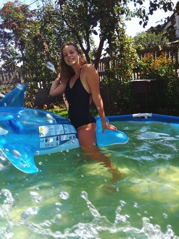 Water Tree Swimming Smiling Swimming Pool Full Length Happiness Summer Fun Front View