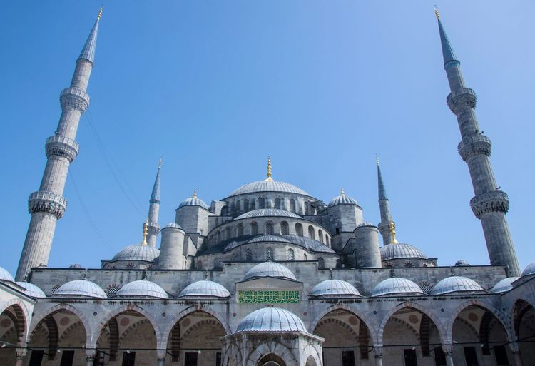 Low Angle View Of Blue Mosque Against Clear Blue Sky