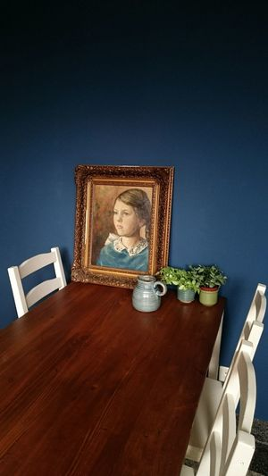 Kitchen in our 1930's house. Portret is my grandmother when she was a little girl... Kitchen 1930's Dutch House Blue Bluewall Painting Portretpainting Kitchentable First Eyeem Photo