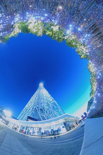 Tower Theta360 Sky Built Structure Blue Architecture Nature No People Day Outdoors Low Angle View Building Exterior City
