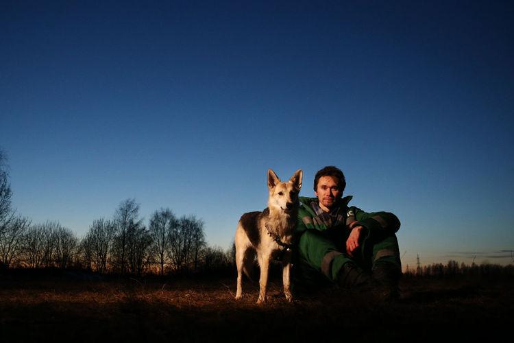 Full length of dog sitting on field against sky