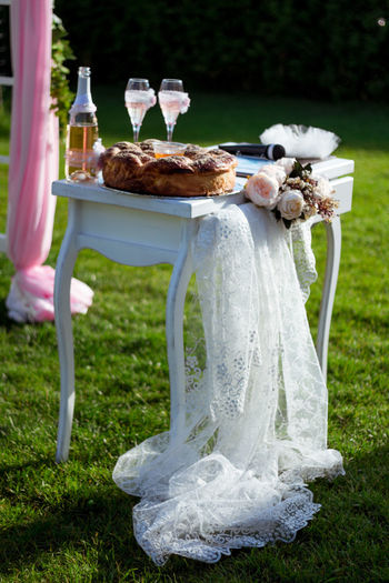 Cake With Champagne On Table In Field