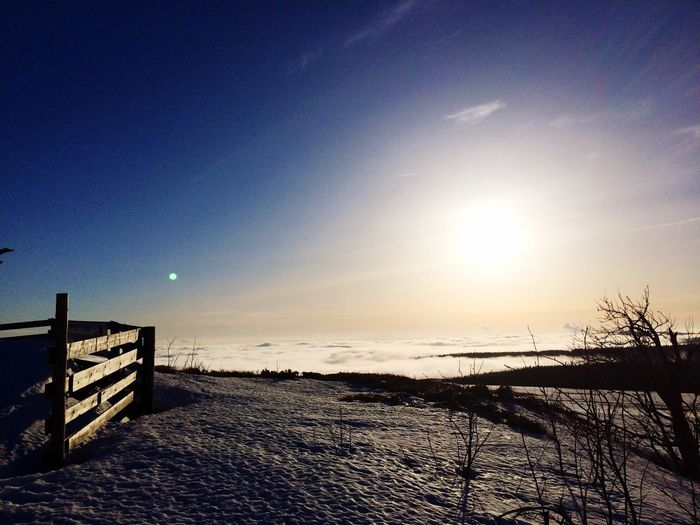 Tranquil Scene Scenics Nature Tranquility Beauty In Nature Idyllic Cold Temperature Outdoors Sunset Winter Sky Sunlight No People Sun Snow Water Sea Landscape Horizon Over Water Day