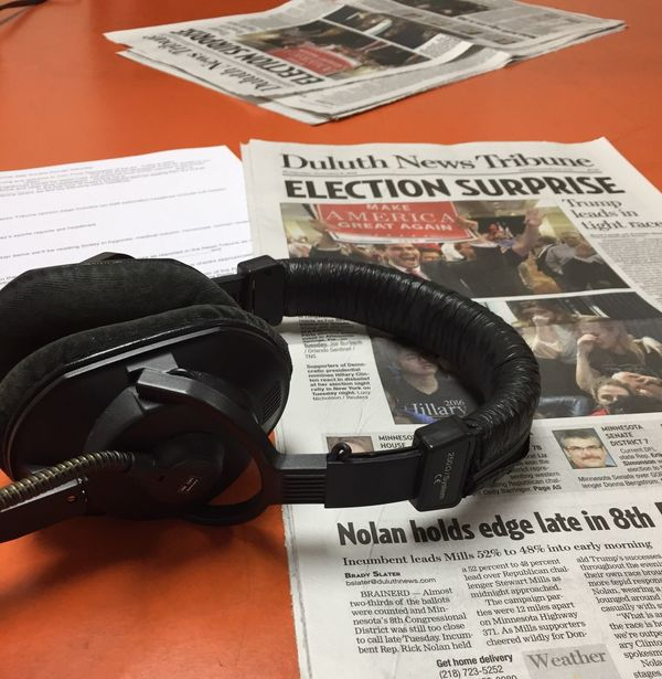 Historic and interesting post-election day. Today, Wednesday, is my volunteer duty at Twin Ports Newspaper of the Air. Two hours, live reading of Duluth News Tribune for our visually challenged listeners. Newspaper Volunteering Radio Reading VoiceOver Live