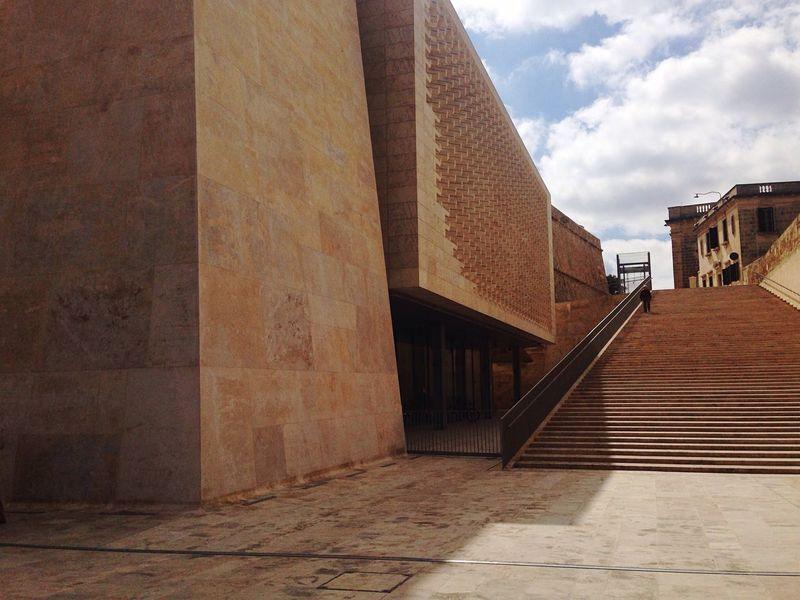 Architecture Steps Sky One Man Building Geometric Shape