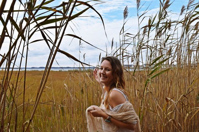 Brown Hair Casual Clothing Field Grass Lady Leisure Activity Lifestyles Long Hair Nature Person Tranquility