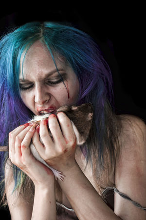Zombie Black Background Blood Blue Hair Ombre Hair Purple Hair Rat Rodent Zombie
