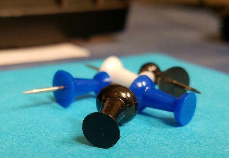Push Pins Office Supplies Blue Black White Macro Blue Wave
