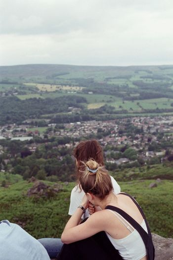 Hills 35mm Film 35mm Film Film Photography Filmisnotdead Canon Canonphotography Filmphotography Young Women Women Mountain Sitting Relaxation Rear View Sky Landscape Physical Geography Foggy Hiker Natural Landmark Scenics