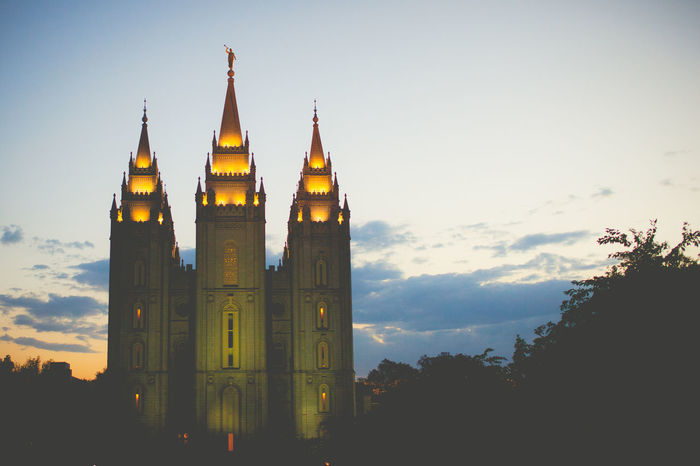 Architecture Building Built Structure Cloud - Sky Clouds Exterior Historic Illuminated Lds Lds Temples Lights And Shadows Mormon Night No People Salt Lake City Sky Sunset Temple