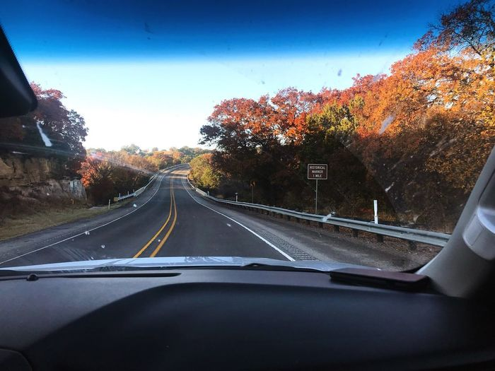 Vehicle Interior Transportation Car Land Vehicle Windshield Road Car Interior Mode Of Transport Car Point Of View The Way Forward Tree Windscreen No People Dashboard Journey Day Autumn Sky Nature Outdoors