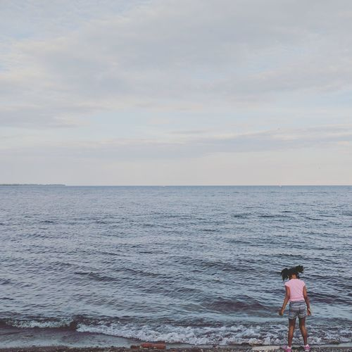 Sea Beach Horizon Over Water Vacations One Person Full Length Standing Summer Outdoors Childhood Children Only Child Leisure Activity People Sky Sand Day Water Lakeview Travel Real People Lost In The Landscape