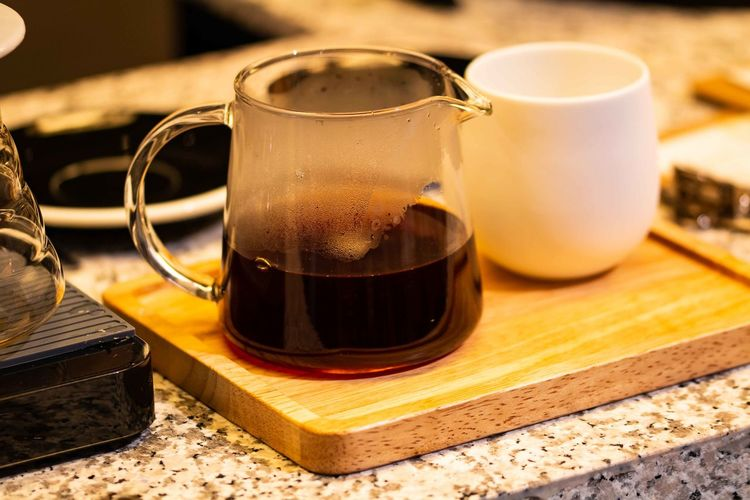 Refreshment Drink Food And Drink Table Still Life Close-up Freshness Indoors  Focus On Foreground No People Wood - Material Food Household Equipment Glass Cup Glass - Material Hot Drink Tea Transparent Container Tray Pitcher - Jug