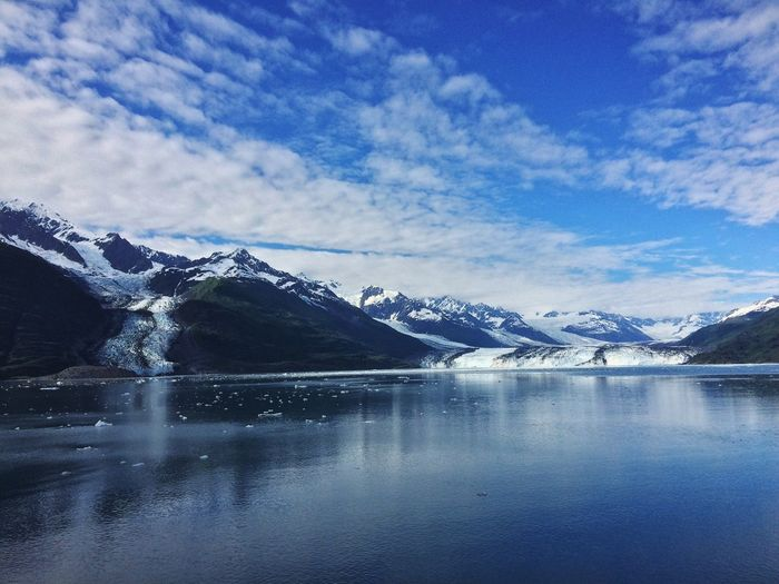 A beautiful day in Glacier Bay, Alaska Mountain Snow Winter Cold Temperature Sky Mountain Range Beauty In Nature Nature Water Scenics Lake Reflection Glacier Idyllic Ice Outdoors Tranquil Scene Tranquility Landscape No People Alaska Bay Ocean