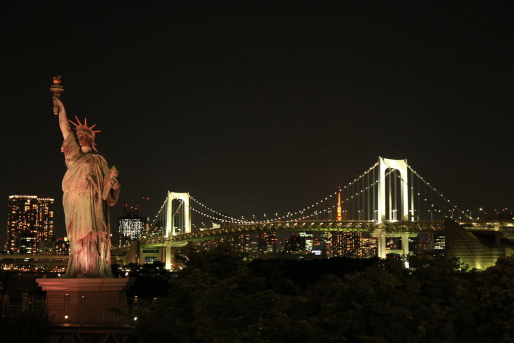 Night Architecture Suspension Bridge Odaiba Seaside Park Liberty Statue Japan