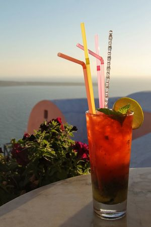 Cheers! 🍹 Cocktails Greece Drinking Santorini Cocktail Red Summer Summertime Hanging Out