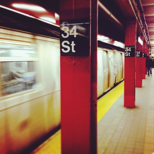 NYC New York NYC Subway 34th Street  New York City Metro Station Subway Train Colors