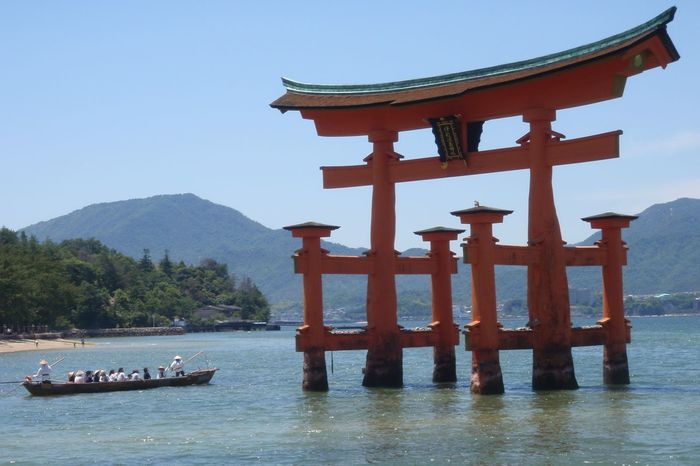 Blue Floating Torii Gate Japan Japanese Culture Mountain Outdoors Scenics Sky Torii Gate Tranquil Scene Tranquility Travel Destinations