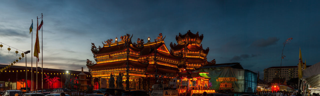 Penang Nine Emperor God Temple Building Exterior Architecture Built Structure Sky Illuminated Building Cloud - Sky Nature Low Angle View City Dusk Religion Panoramic Belief No People Spirituality Travel Destinations Place Of Worship Night