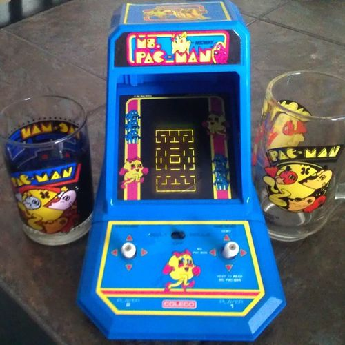 This was mine as an 80schild . Kept it all these years. Still works perfectly! It has around a hundred levels and I had them all memorized at one point and would keep playing through them all, over and over, without losing. Childprodigy (The glasses are from a flea market, love them.) Vintage Mspacman Videogame  Pacman Vintagetoys 80stoys Retrogaming Coleco Toycommunity Toycollector 80sKid Toys4life Toyrevolution Atari Collectibles Collection Toycollection 80sgames Retro Oldschool Videogames Gamergirl Arcade