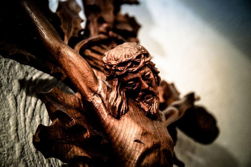 Close-up Closeup Detail Focus On Foreground INRI Jesus Religion Symbol Wood Woodencross
