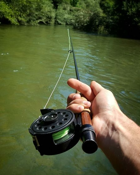 la magia della pesca a mosca Pesca A Mosca Fly Fishing Flyfishing  Trota Trout Fishing Water Tree Fishing Tackle Holding Fishing River Gripping Close-up Personal Perspective Human Leg Fishing Rod Catch Of Fish Fishing Hook Fishing Pole