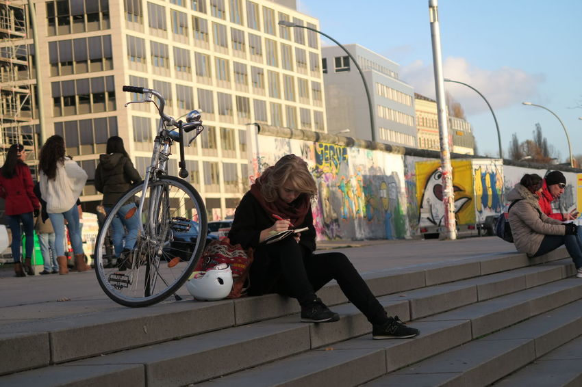 a winter afternoon in Berlin Berlin People Watching Bicycle Chillout City City Life East Side Gallery Lifestyles People Real People Relax Rest Transportation Urban Women