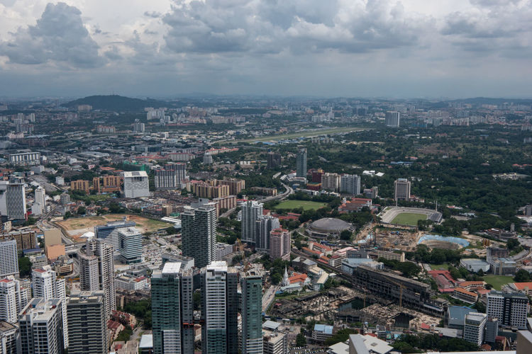 High angle view of cityscape seen from menara kuala lumpur tower