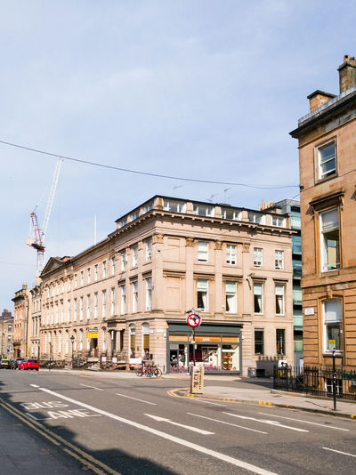 Glasgow  GLASGOW CITY Buildings Architecture City Bath Street Shops Old Buildings Stone Construction Crane Bike Road Marking Road