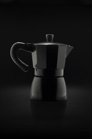 Mokapot in Black Black Black Background Close-up Coffee - Drink Coffee Pot Drink Espresso Maker Mokapot No People Studio Shot