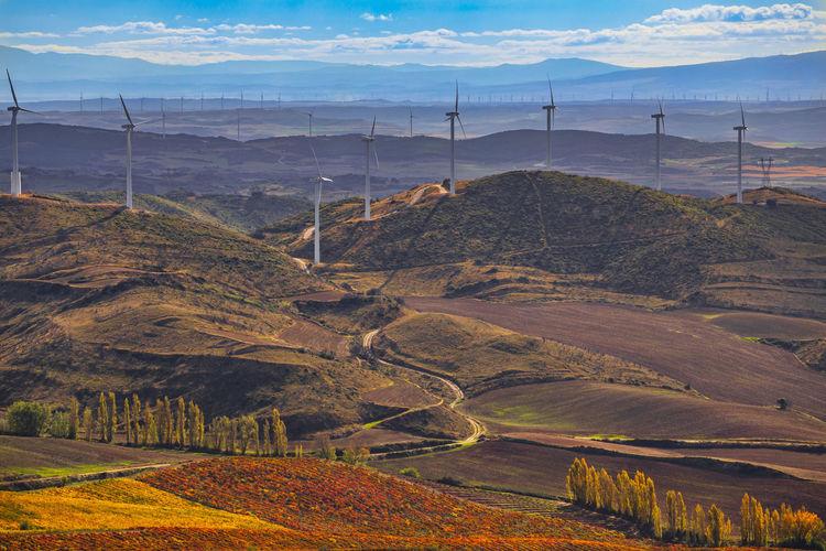 Windmills on landscape