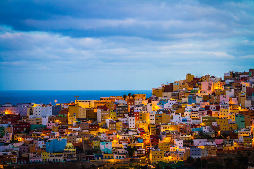 Gran Canaria Gran Canary Island Houses Las Palmas Las Palmas De Gran Canaria Light Architecture Building Exterior Built Structure City Cityscape Cloud - Sky Colorful Colour Houses Community Crowded Day Horizon Over Water Nature Outdoors Residential Building Sea Sky Tipical Water