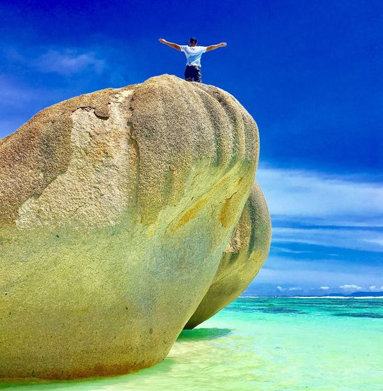 Nature High Angle View Rock - Object Cloud - Sky Blue Sea Nature Beauty In Nature Landscape Sky Horizon Over Water Beach Sand