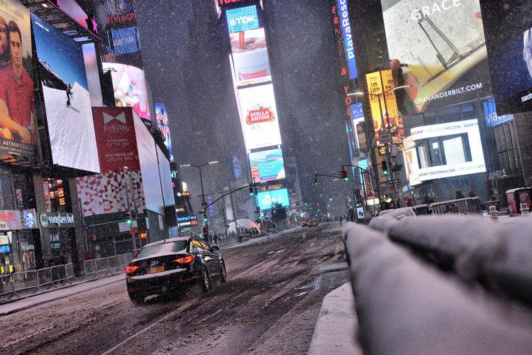 OpenEdit The Week On EyeEm Times Square NYC Nikon Travel Photography Travel Destinations Streetphotography USA New York Snow Snowing Illuminated Night Mobility In Mega Cities