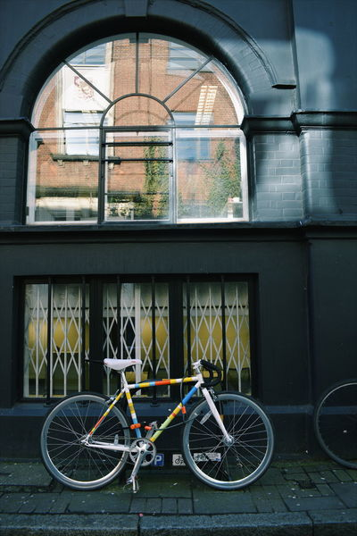 Cycle Reflection Wall Architecture Bicycle Bike Black Brick Building Exterior Built Structure City Day No People Outdoors Stationary Transportation Window